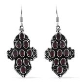 Artisan Crafted Mozambique Garnet Sterling Silver Dangle Earrings TGW 5.40 cts.