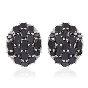 Thai Black Spinel Sterling Silver Omega Clip Earrings TGW 21.10 cts.
