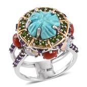 Arizona Sleeping Beauty Turquoise, Multi Gemstone 14K YG and Platinum Over Sterling Silver Double Band Statement Ring (Size 8.0) TGW 8.000 cts.