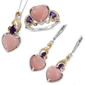 Peruvian Pink Opal, Amethyst 14K YG and Platinum Over Sterling Silver Openwork Heart Lever Back Earrings, Ring (Size 6) and Pendant With Chain (20 in) TGW 15.65 cts.