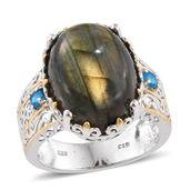 Malagasy Labradorite, Malgache Neon Apatite 14K YG and Platinum Over Sterling Silver Ring (Size 10.0) TGW 19.750 cts.