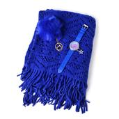 Dark Blue 100% Acrylic V-Shape Back Kimono with Fringes, Goldtone Pom Pom Keychain and White Austrian Crystal Japanese Movement Dangle Charm Watch with Blue Faux Leather Straps