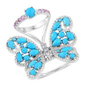 Arizona Sleeping Beauty Turquoise, Madagascar Pink Sapphire, White Zircon Sterling Silver Butterfly Ring (Size 8.0) TGW 4.84 cts.