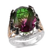 Watermelon Quartz, Thai Black Spinel 14K YG and Platinum Over Sterling Silver Ring (Size 6.0) TGW 20.60 cts.