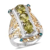 Madagascar Yellow Apatite, Malgache Neon Apatite 14K YG and Platinum Over Sterling Silver Elongated Ring (Size 8.0) TGW 3.900 cts.