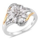 Brazilian Goshenite, Cambodian Zircon 14K YG and Platinum Over Sterling Silver Split Ring (Size 10.0) TGW 1.71 cts.
