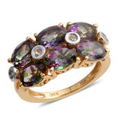 Dan's Collector Deal Northern Lights Mystic Topaz, White Topaz 14K YG Over Sterling Silver Ring (Size 5.0) TGW 6.17 cts.