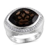 Brazilian Smoky Quartz, White Zircon Platinum Over Sterling Silver Statement Ring (Size 7.0) TGW 13.95 cts.
