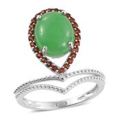 Burmese Green Jade, Mozambique Garnet Platinum Over Sterling Silver Drop Ring (Size 5.0) TGW 5.71 cts.