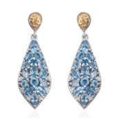 Marambaia Topaz, Malgache Neon Apatite, Cambodian Zircon 14K YG and Platinum Over Sterling Silver Drop Earrings TGW 6.38 cts.