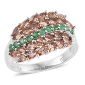 Jenipapo Andalusite, Kagem Zambian Emerald Platinum Over Sterling Silver Ring (Size 9.0) TGW 2.86 cts.