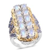 Sri Lankan Rainbow Moonstone, Tanzanite 14K YG and Platinum Over Sterling Silver Elongated Ring (Size 10.0) TGW 12.82 cts.