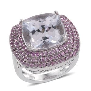 Urukun Kunzite, Madagascar Pink Sapphire Platinum Over Sterling Silver Ring (Size 7.0) TGW 15.45 cts.