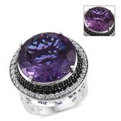 Lavender Alexite, Multi Gemstone Platinum Over Sterling Silver Ring (Size 9.0) TGW 29.63 cts.