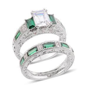 Simulated Diamond, Simulated Green Diamond Silvertone Set of 2 Ring (Size 9) TGW 6.38 cts.