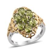 Arizona Peridot 14K YG and Platinum Over Sterling Silver Ring (Size 7.0) TGW 3.560 cts.