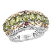 Arizona Peridot, Ruby 14K YG and Platinum Over Sterling Silver Euro Style Ring (Size 8.0) TGW 4.82 cts.
