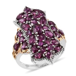 Purple Garnet 14K YG and Platinum Over Sterling Silver Elongated Ring (Size 7.0) TGW 7.360 cts.