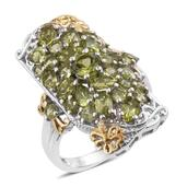 Arizona Peridot 14K YG and Platinum Over Sterling Silver Elongated Ring (Size 5.0) TGW 5.22 cts.