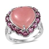 Peruvian Pink Opal, Orissa Rhodolite Garnet, White Zircon Platinum Over Sterling Silver Heart Statement Ring (Size 8.0) TGW 13.44 cts.