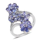 Tanzanite, Cambodian Zircon Platinum Over Sterling Silver Floral Bypass Ring (Size 5.0) TGW 4.28 cts.