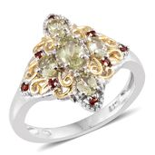 Madagascar Yellow Apatite, Mozambique Garnet 14K YG and Platinum Over Sterling Silver Ring (Size 9.0) TGW 1.52 cts.