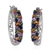 Multi Sapphire Platinum Over Sterling Silver Hoop Earrings TGW 6.626 Cts.