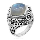 Bali Legacy Collection Sri Lankan Rainbow Moonstone Sterling Silver Ring (Size 8.0) TGW 8.94 cts.