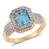 Marambaia Topaz, Cambodian Zircon 14K YG Over Sterling Silver Ring (Size 13.0) TGW 5.530 cts.