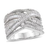 Diamond Platinum Over Sterling Silver Openwork Ring (Size 5.0) TDiaWt 1.49 cts, TGW 1.49 cts.