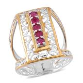 Burmese Ruby 14K YG and Platinum Over Sterling Silver Elongated Open Ring (Size 11.0) TGW 1.250 cts.