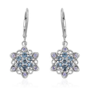 Santa Maria Aquamarine, Tanzanite Platinum Over Sterling Silver Lever Back Earrings TGW 1.10 cts.