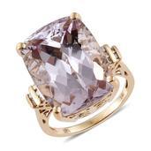 14K YG Urukun Kunzite, Diamond Ring (Size 8.0) TDiaWt 0.15 cts, TGW 30.95 cts.