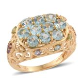 Mint Apatite, Multi Gemstone 14K YG Over Sterling Silver Openwork Ring (Size 9.0) TGW 3.39 cts.