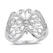 Platinum Over Sterling Silver Ring (Size 8.0)
