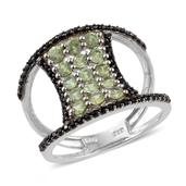 Ambanja Demantoid Garnet, Thai Black Spinel Platinum Over Sterling Silver Open Band Ring (Size 9.0) TGW 2.660 cts.