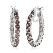 Color Change Garnet Platinum Over Sterling Silver Hoop Earrings Total Gem Stone Weight 6.080 Carat