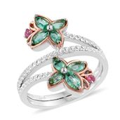 Boyaca Colombian Emerald, Mahenge Pink Spinel 14K RG and Platinum Over Sterling Silver Bypass Ring (Size 5.0) TGW 0.98 cts.