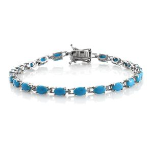Arizona Sleeping Beauty Turquoise Platinum Over Sterling Silver Tennis Bracelet (7.75 In) TGW 8.40 cts.