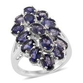 Catalina Iolite Platinum Over Sterling Silver Elongated Ring (Size 6.0) TGW 5.76 cts.