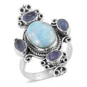 Artisan Crafted Larimar, Rough Cut Tanzanite Sterling Silver Ring (Size 7.0) TGW 9.64 cts.
