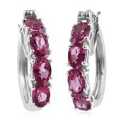 Pure Pink Mystic Topaz Platinum Over Sterling Silver Hoop Earrings TGW 7.25 cts.