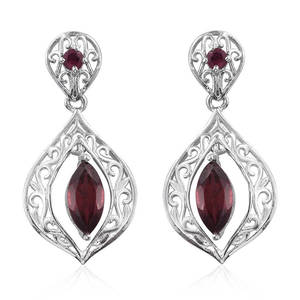 KARIS Collection - Orissa Rhodolite Garnet Platinum Bond Brass Earrings TGW 2.960 Cts.