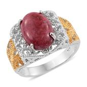 KARIS Collection - Norwegian Thulite ION Plated 18K YG and Platinum Bond Brass Ring (Size 6.0) TGW 7.000 cts.