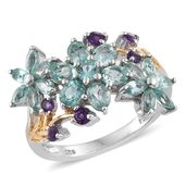 Mint Apatite, Amethyst 14K YG and Platinum Over Sterling Silver Floral Ring (Size 5.0) TGW 2.76 cts.