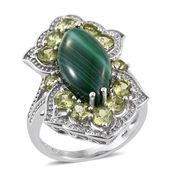 African Malachite, Hebei Peridot Platinum Over Sterling Silver Ring (Size 6.0) TGW 14.350 cts.