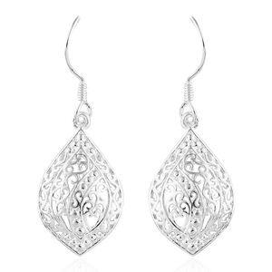 Sterling Silver Openwork Earrings with Silvertone Lever Back (4 g)
