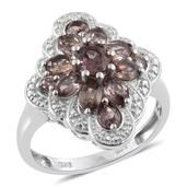 Color Change Garnet Platinum Over Sterling Silver Ring (Size 6.0) TGW 2.900 cts.