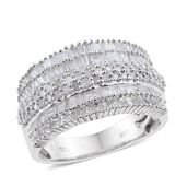 Diamond Platinum Over Sterling Silver Concave Ring (Size 6.0) TDiaWt 1.50 cts, TGW 1.50 cts.