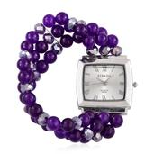 STRADA Austrian Crystal Japanese Movement Bracelet Watch with Purple Quartzite and Purple Glass Triple Strand Band (Stretchable TGW 195.000 Cts.